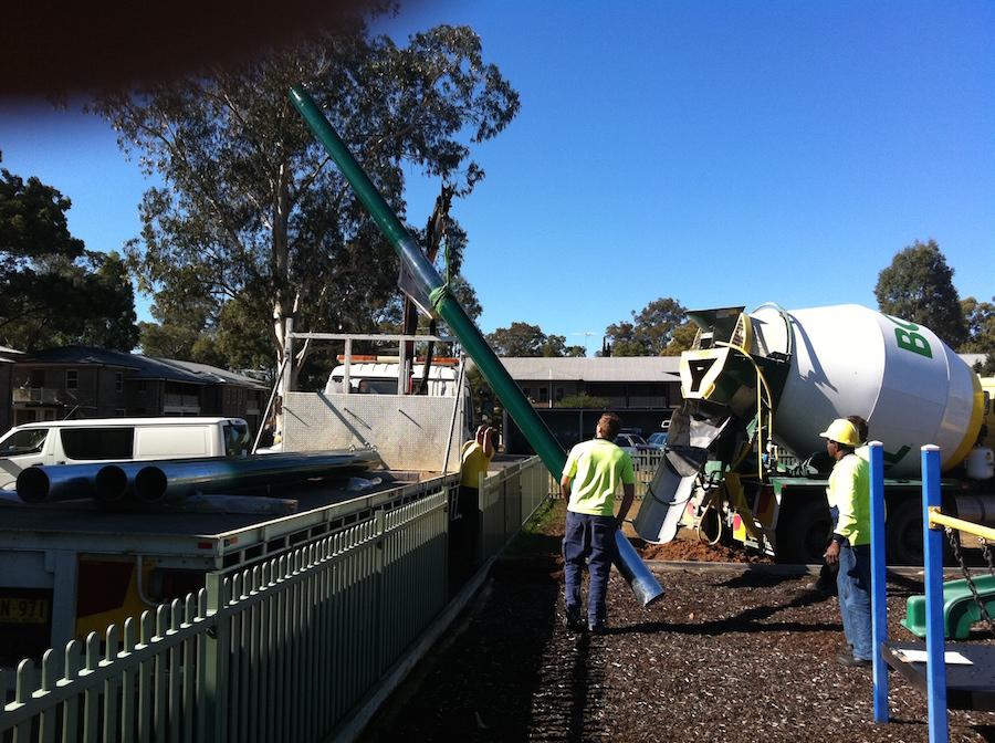 Concrete truck and pole